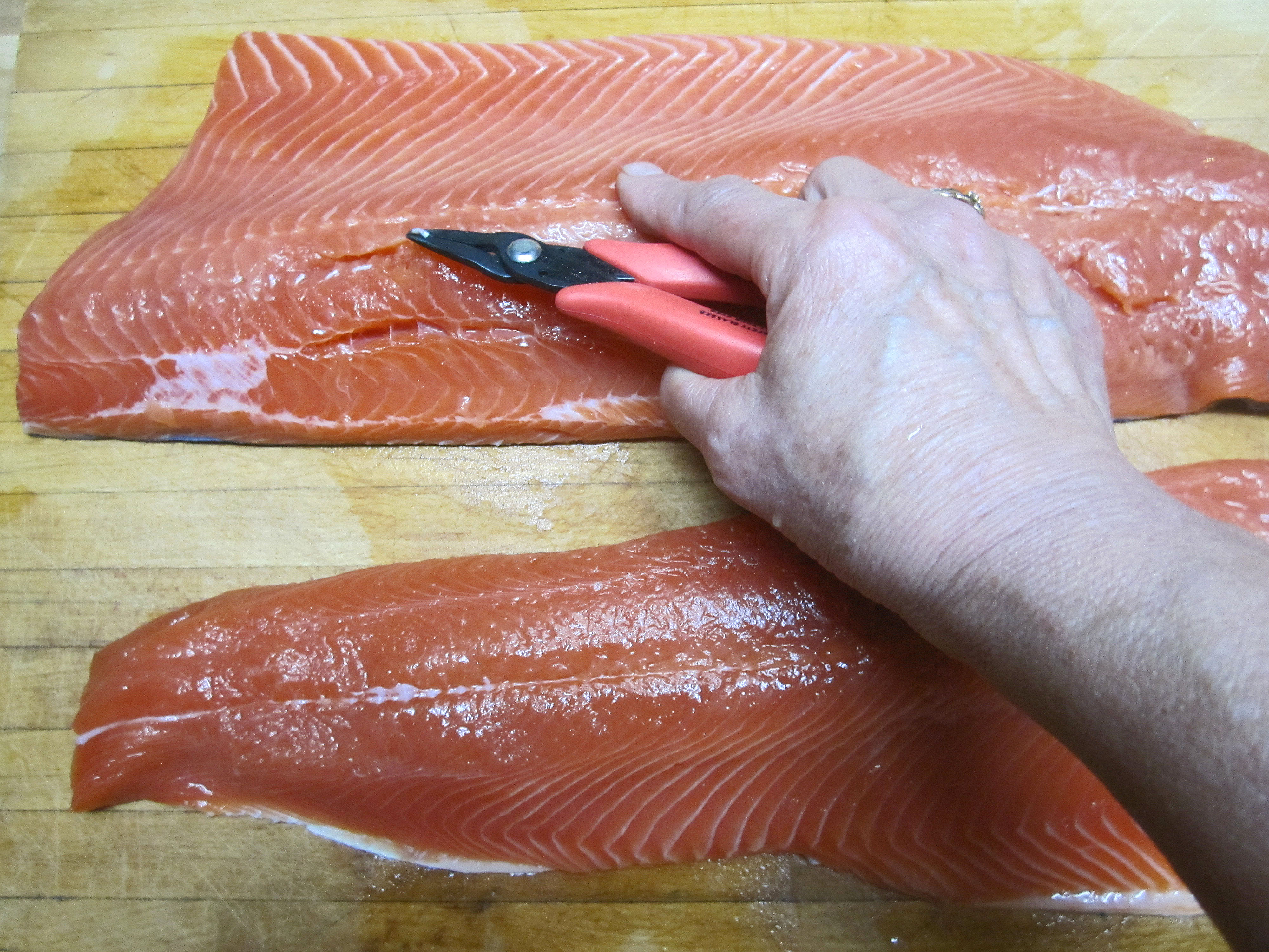 Once All The Bones Were Removed I Put The Salmon Face Down On A Baking  Sheet That Had 2 Tablespoons Of Extra Virgin Olive Oil Poured Onto It